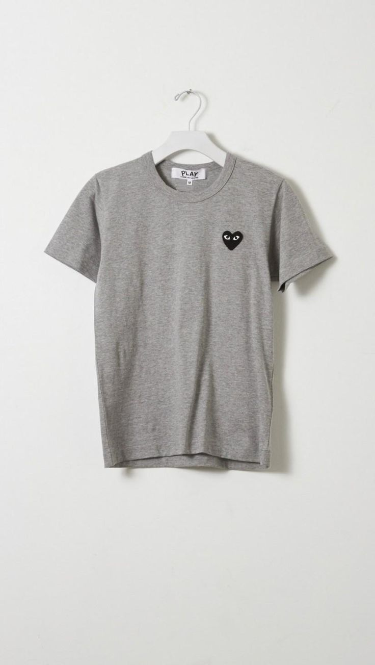 PLAY Comme Des Garcons Emblem Tee in Grey w/ Black | The Dreslyn