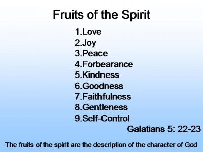 Fruits of the spirit.  Sometimes you need to practice these when life get's tough.  Especially forbearance.  Self-control.  Peace.  Joy.  Gentleness.  Kindness.  Goodness.  Faithfulness.  Some come easier than others.  Have I missed any?  The greatest of all, love.  You could survive just on that.