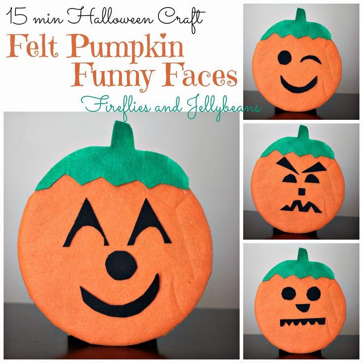 Fireflies and Jellybeans: Felt Pumpkin Funny Faces (15 minute Halloween craft) ~Tutorial~