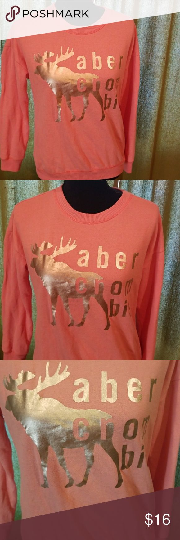 Abercrombie girls peach long sleeve sweater 13/14 Good used condition.  The color is a little lighter peach than shown in pictures.      Box K abercrombie kids Shirts & Tops Sweatshirts & Hoodies