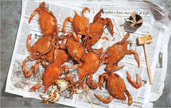 NYT Cooking: For steamed crabs, that beach-town summer standby, the Chesapeake catechism teaches plenty: buy more crabs than you think you need, use more spice, a larger pot. Get wooden mallets. Prepare to eat for a while.<br/><br/>If you don�t have a crab pot, and most of us don�t, fiddle with the largest stockpot or pasta boiler you have. Set a few clean, empty metal cans upside%...