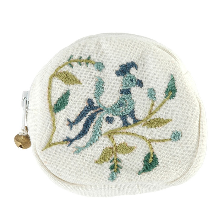Stitched in the traditional Gujarati style of embroidery, this elegant coin purse is created by artisans working with St. Mary's Mahila Shikshan Kendra, a Catholic charitable organization in Ahmedabad, India. The hand-loomed cotton cloth and the thread are both locally produced, providing vital income for producers and their families. The interior compartment is lined with natural cotton.