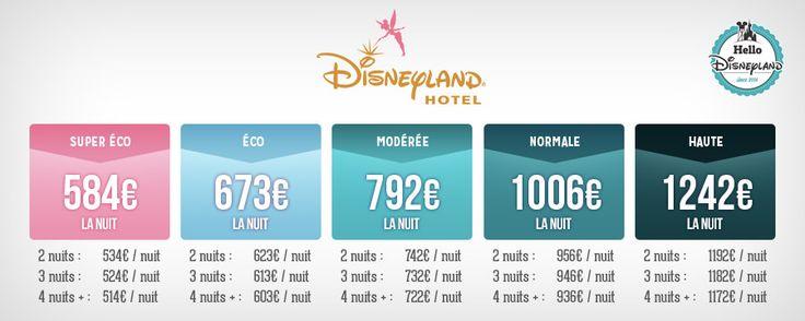 Tarifs nuit seule hôtel Disney Disneyland Hotel