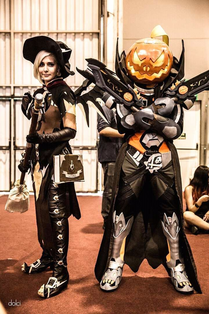 Mercy Witch Overwatch Image Witch Mercy And Pumpkin Reaper By