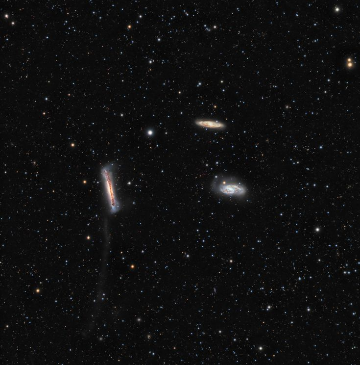 A mere 30 million light-years away, large spiral galaxy NGC 3628 (center left) shares its neighborhood in the local Universe with two other large spirals, in a magnificent grouping otherwise known as the Leo Triplet. In fact, fellow trio member M65 is near the center right edge of this deep cosmic group portrait, with M66 just above it and to the left. #astronomy #space
