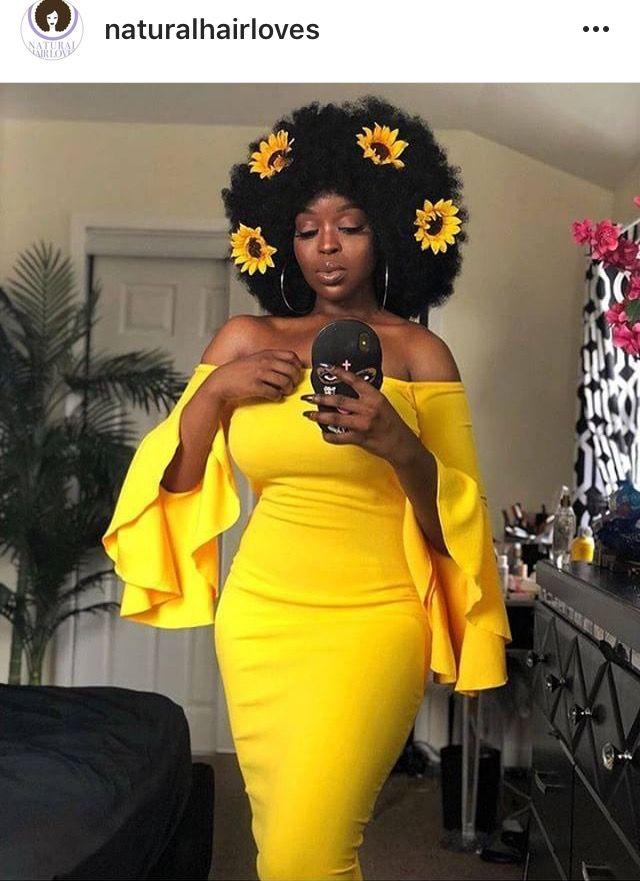 85364b6e572 Yellow sunflower Afro hair