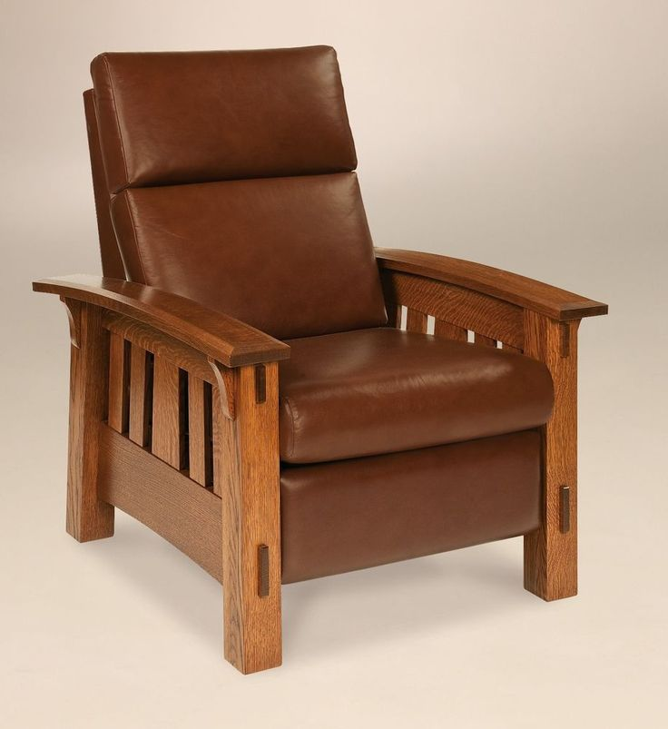 Amish Mission Arts and Crafts Recliner Chair McCoy Solid Wood Leather #NewHickoryWholesale #ArtsCraftsMissionStyle