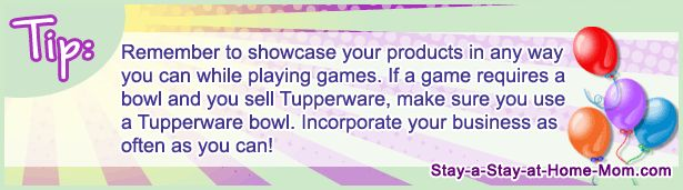 http://www.stay-a-stay-at-home-mom.com/party-games-for-large-groups.html Remember to showcase your products in any way you can while playing games. If a game requires a bowl and you sell Tupperware, make sure you use a Tupperware bowl. Incorporate your business as often as you can!