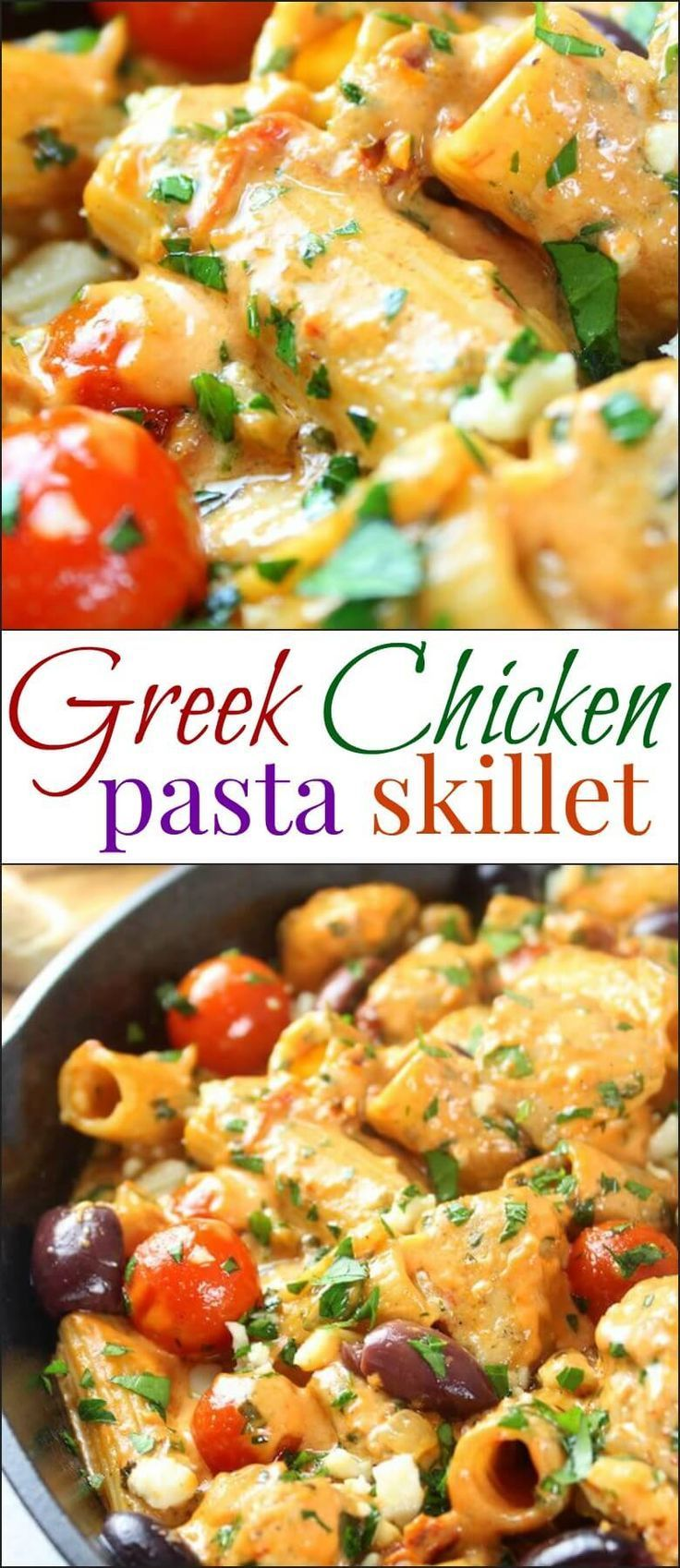 This Greek Chicken Pasta Skillet is zesty and creamy and full of all your favorite Mediterranean flavors!  With sun-dried tomatoes, feta cheese, Kalamata Olives, garlic, chicken, pasta and more – it's truly a meal the whole family will love! via @ohsweetbasil: