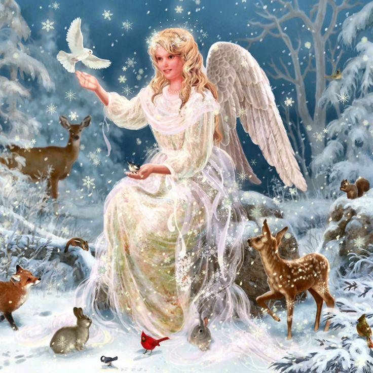 Поцелуйчики смешные, новый год открытка с анимациями зима ангелочки