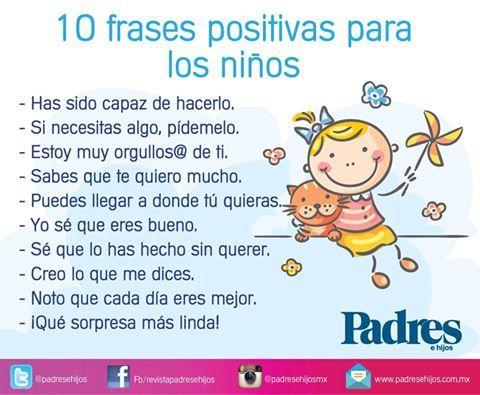 Frases positivas para niños :) No se trata de tener niños chípiles y maleducados, si no de educar niños felices.