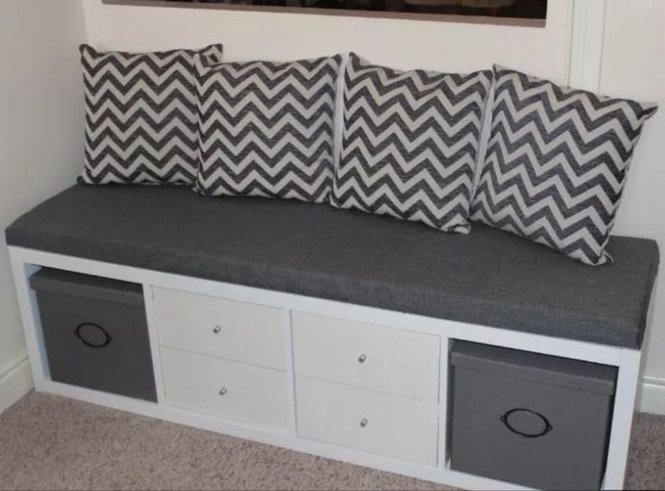 cool bench made from an ikea kallax and some pillows. Black Bedroom Furniture Sets. Home Design Ideas