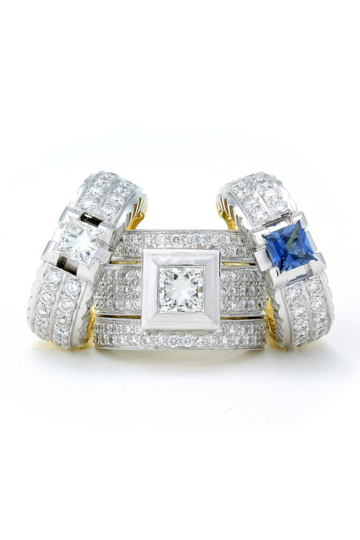 Princess cuts in diamonds and blue sapphires intrigue.