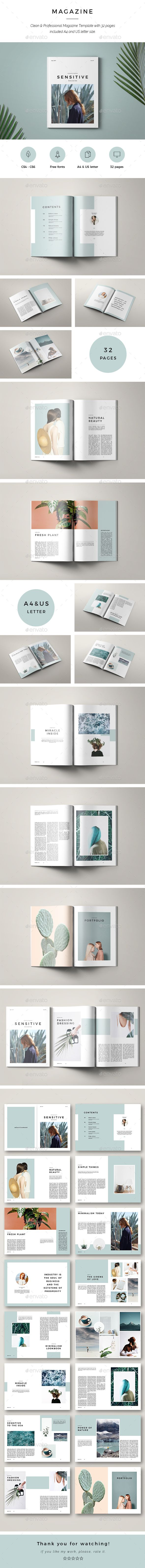 Sensitive Minimal Magazine — InDesign INDD #graphic design #marketing • Down…