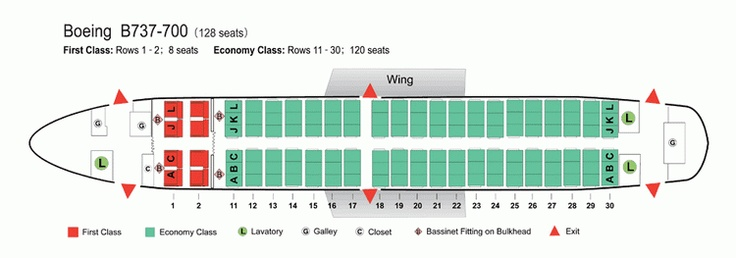 Air China Airlines Boeing 737 700 Aircraft Seating Chart