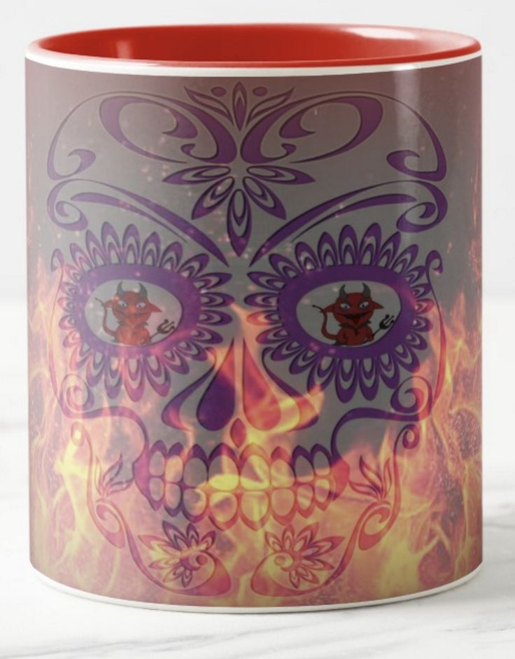 It looks like everyone's having a good time in spite of the heat! Little Lucifer is reflected in the skull's eyes. The eternal flames are not touching them it seems. If you're feeling like a bit of humour with your morning coffee, this mug might just do the trick!