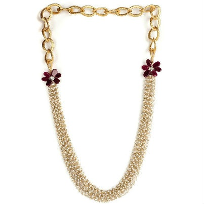 Red Chained Moti Necklace  Rs. 1450  www.juvalia.in  So what's been taking the fashion scene by storm this season? Any guesses? Its the fusion of traditional Indian and heavy western jewellery that is making women go gaga. Keeping this craze in mind Juvalia & You has developed an Indo-Western Collection. Heavy long earrings, cocktail rings, cuffs are the hot favorites of partygoers and women getting married. So stock up today!