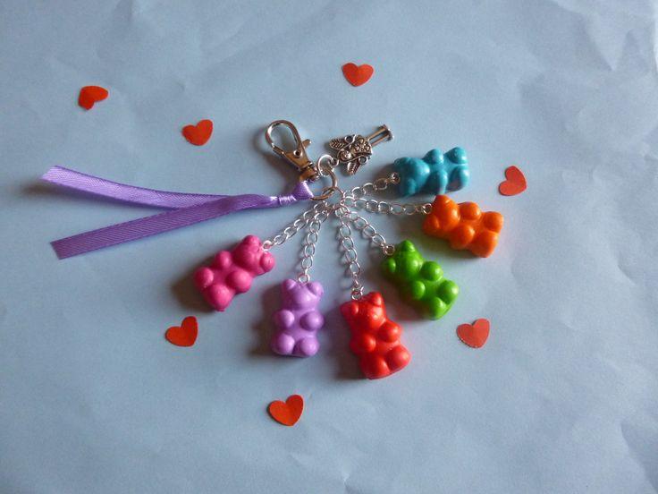 Porte- clé bonbons nounours en pâte fimo : Porte clés par brico-nad