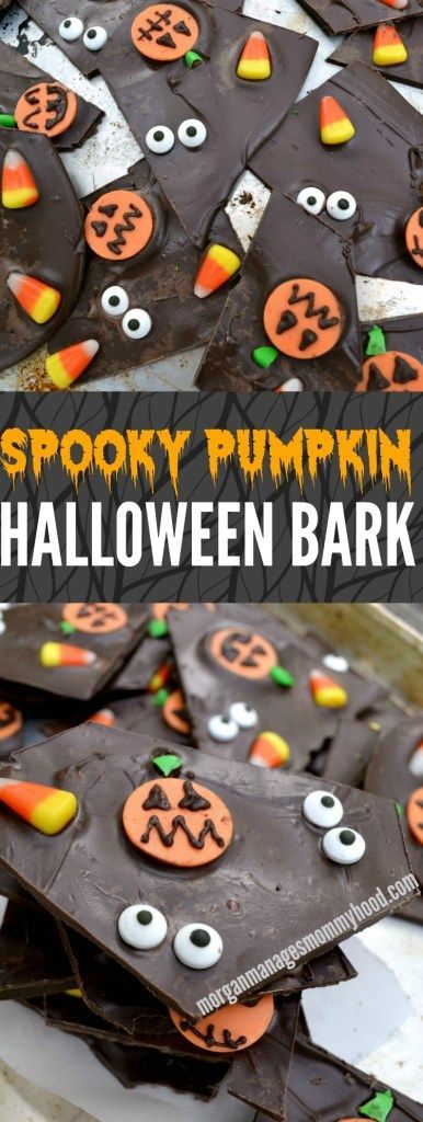 The Ultimate Pinterest Party, Week 118 This simple chocolate Halloween bark takes a simple treat to the next level with spooky pumpkins, candy corn, and glaring eyeballs- it's sure to be a hit with your favorite ghosts and ghouls this holiday!