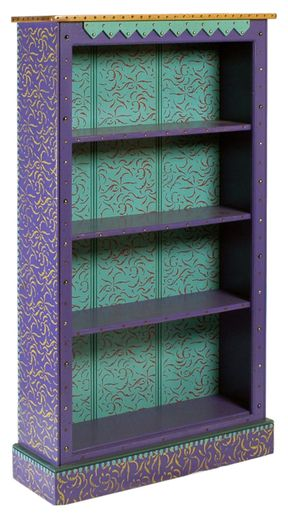 Painted or decoupaged Bookshelf.