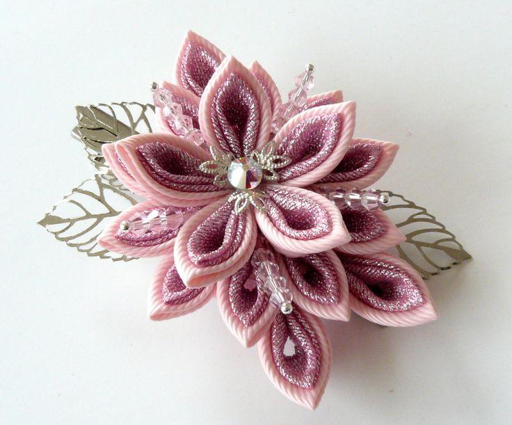 Kanzashi fabric flower hair clip,Pink kanzashi,Shiny Pink flower hair clip…
