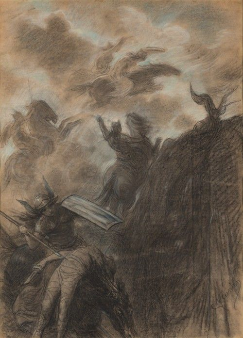 Constantin Meunier. La Walkyrie, c1886. Charcoal, pastel and pencil on paper, private collection. © Vincent Everarts. Photograph: Brussels.