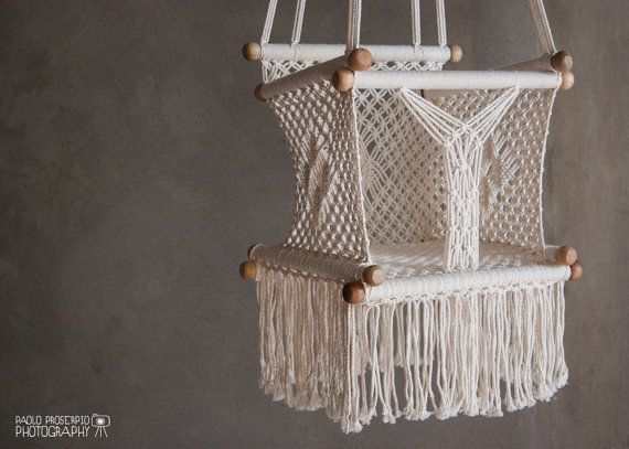 Baby Swing Chair in Macrame  Soft Cotton  by HangAHammock on Etsy, $64.00