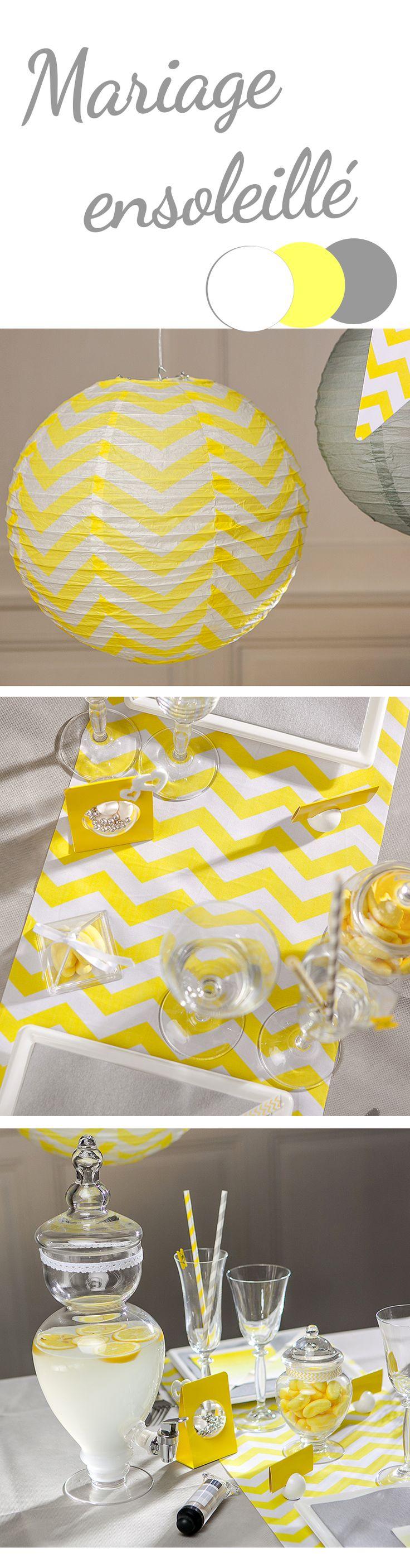 Du jaune, du gris, des chevrons un magnifique limonadier pour votre déco de fête…