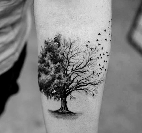 Half Tree Half Birds Awesome Mens Small Forearm Tattoo