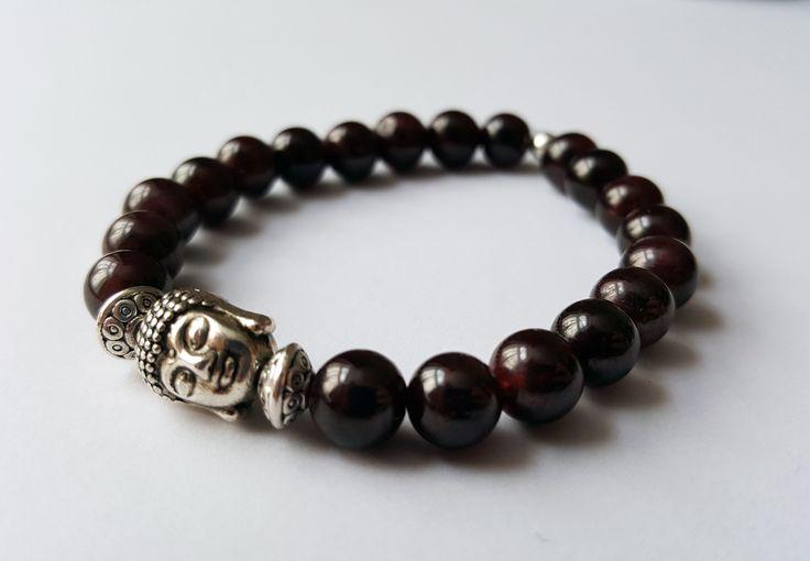 Unisex Genuine Garnet Buddha Bracelet by Wild Lotus Jewellery