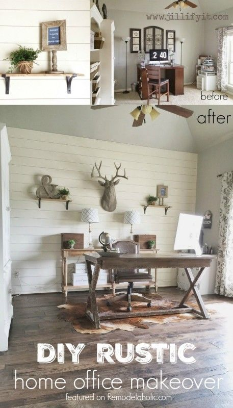 How To Install A Shiplap Wall + Rustic Home Office Makeover (Remodelaholic) Amazing Pictures
