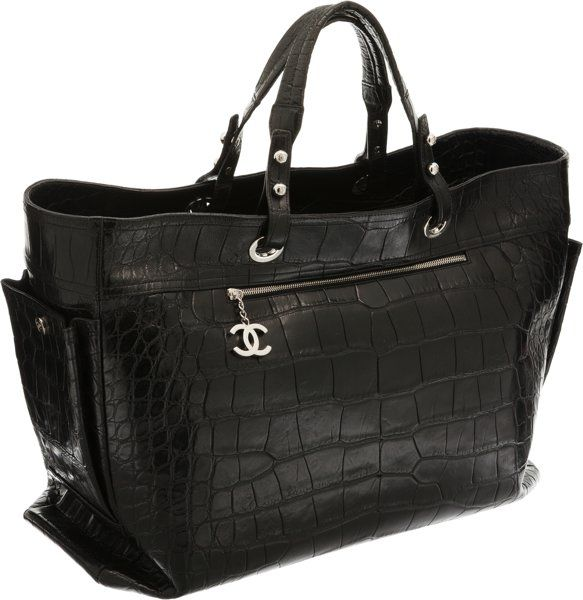 Luxury Accessories:Travel/Trunks, Chanel Limited Edition Matte Black Crocodile Paris-BiarritzOversize Travel Bag. ...