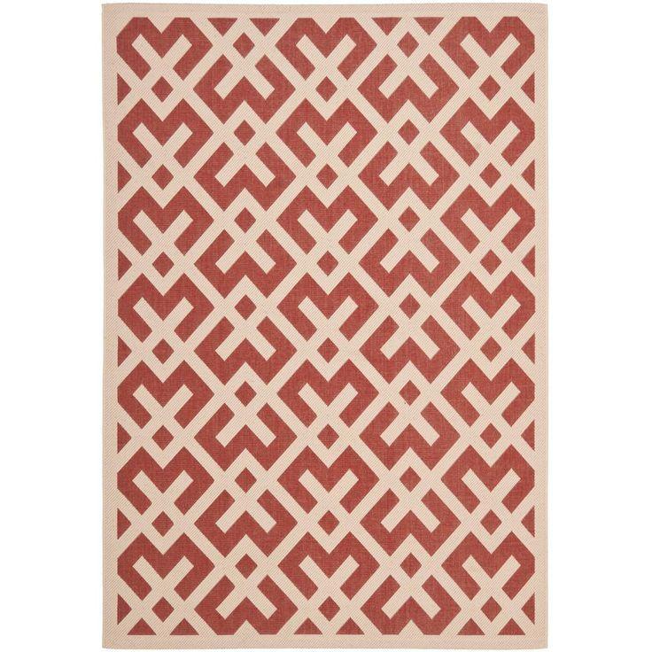 Courtyard Red/Bone (Red/Ivory) 4 ft. x 5 ft. 7 in. Indoor/Outdoor Area Rug