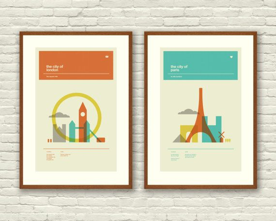 London, England and Paris, France Poster Series, Mid-Century Modern Design    This is a beautiful series of two 12 x 18 art prints, printed on