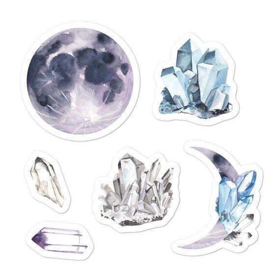 Celestial stickers, Moon, bullet journal, planner, stickers set, laptop, Pegatinas celestial, MacBook, Water Bottle, Blue, Purple, White