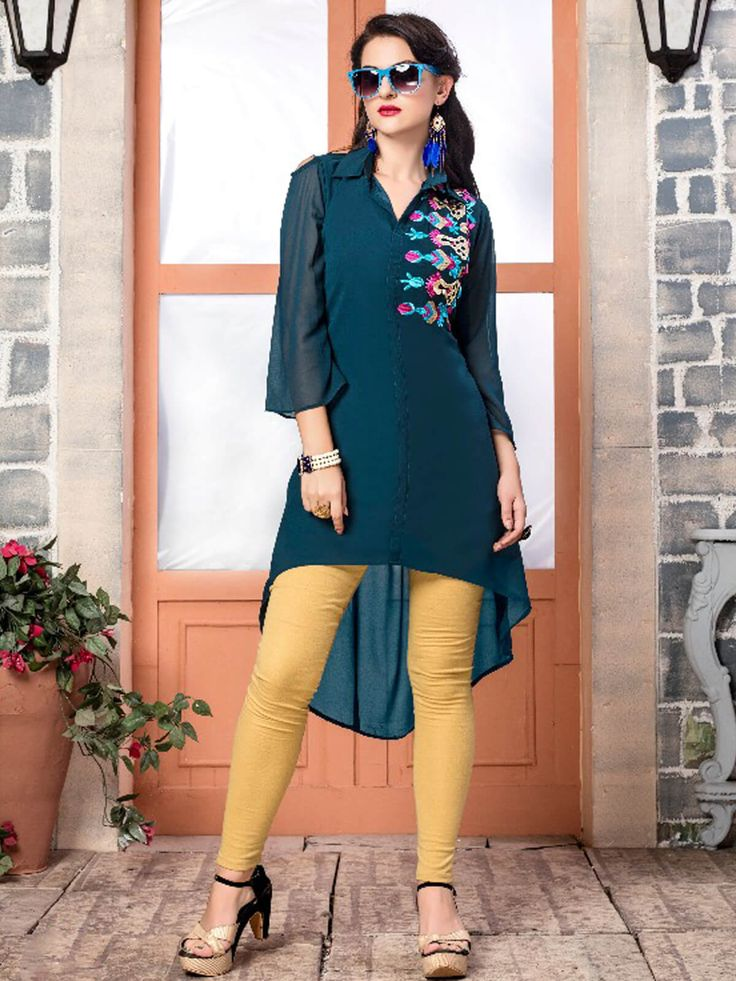 Spunky blue faux georgette festival wear designer kurti. Having fabric faux georgette. The enticing embroidery work and resham embroidery work a intensive attribute of this kurti. #mydesiwear #Kurtis #Designerkurtis #CasualKurtis #TrendyCasualkurtis #DiscountOffer #OnlineShopping #PrintedCasualKurti #WeddingCollection #Georgette #PartywearKurtis #WeddingTrendz #StyleWedding