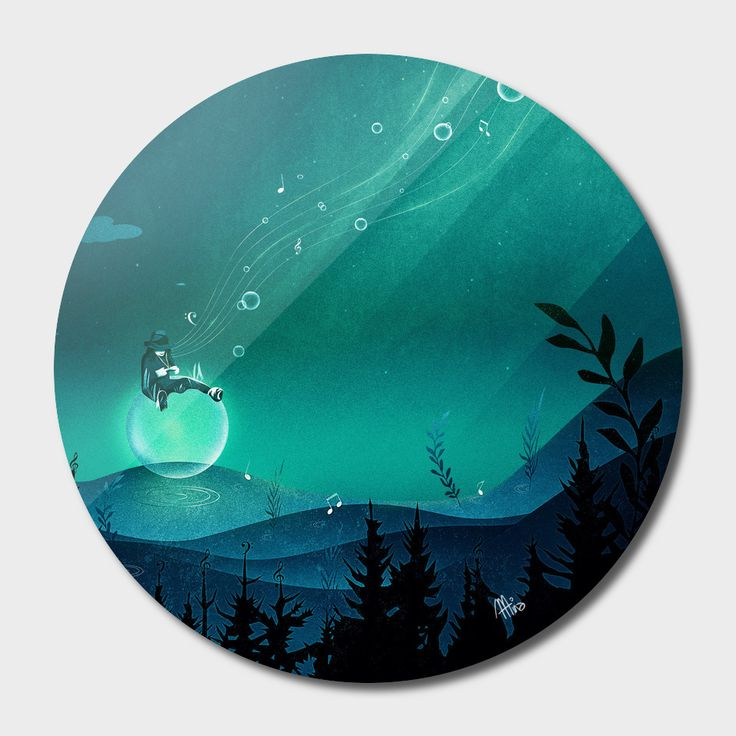 «Comfortably Numb», Exclusive Edition Disk Print by Schwebewesen - From 80€ - Curioos vector digital art fantasy landscape bubble music glow water mysterious glowing bioluminescence