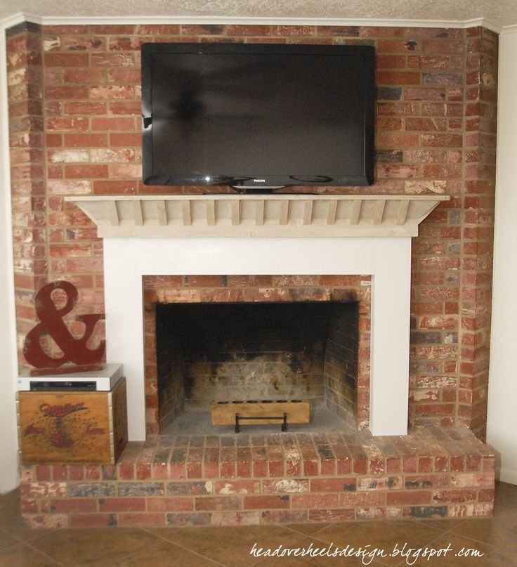 Head Over Heels: TV On A Brick Fireplace: A Whitewashed