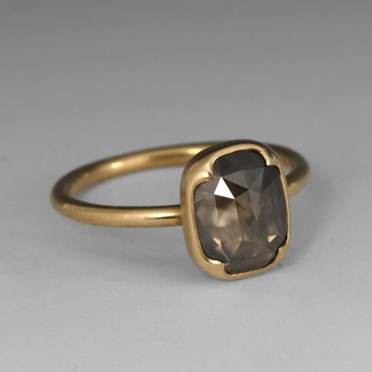 18K gold Brown-Grey Rose Cut Diamond ring - Gabriella Kiss @Quadrum