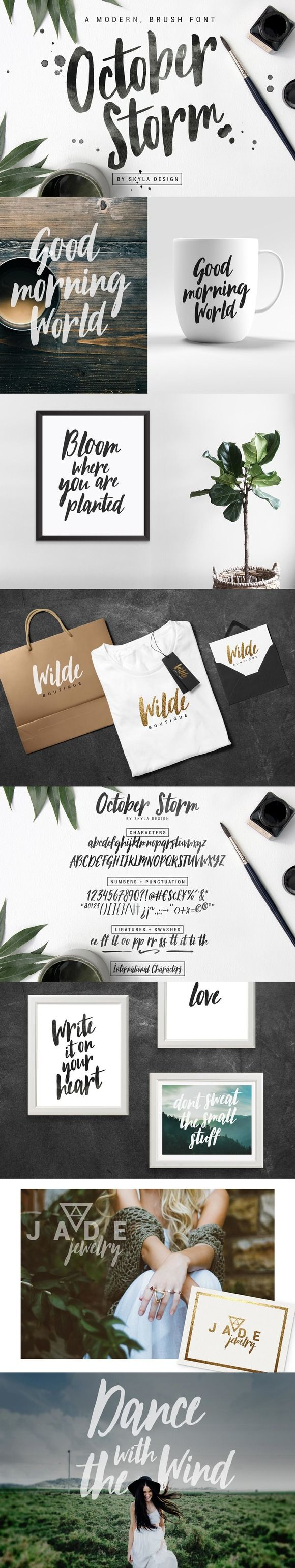 Modern brush font - October Storm by skyladesign on @creativemarket                                                                                                                                                     More