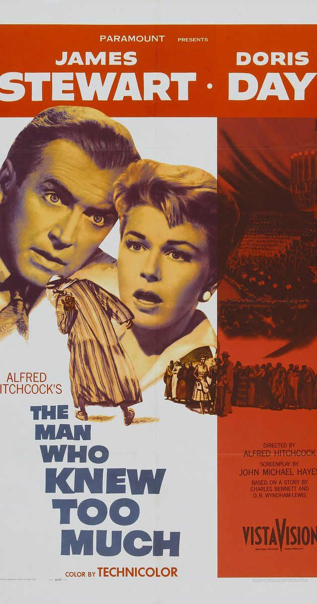Directed by Alfred Hitchcock.  With James Stewart, Doris Day, Brenda de Banzie, Bernard Miles. A family vacationing in Morocco accidentally stumble on to an assassination plot and the conspirators are determined to prevent them from interfering.