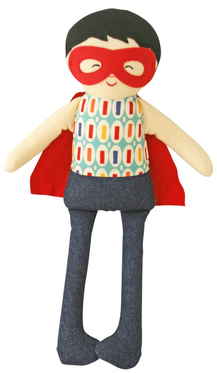 'To the rescue!'  Adorable Sebastian Super Hero Doll Rattle by Alimrose Designs - complete with flowing red cape!  Little Boo-Teek - Alimrose Designs Online | Super Hero Doll Rattle | Baby Gifts Online