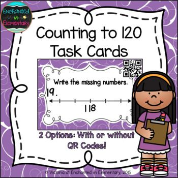 This is a set of 24 QR code task cards aligned to the first grade common core standard: CCSS.Math.Content.1.NBT.A.1 Count to 120, starting at any number less than 120. In this range, read and write numerals and represent a number of objects with a written numeral.