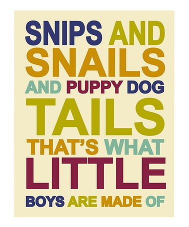 Children's Wall Art / Nursery Decor Snips and Snails and Puppy Dog