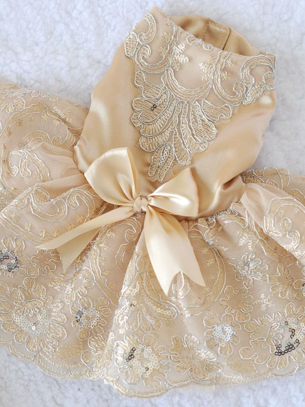 HOT Clothing For Dogs Pet Dog Clothes Lace Bow Wedding Dog Dress Champagne M #BF
