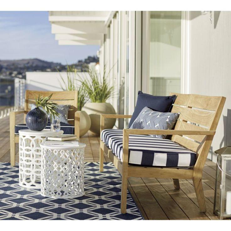 Arlo Blue Indoor/Outdoor 6'x9' Rug | Crate and Barrel