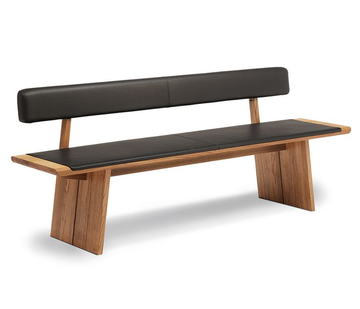 Luxury oak dining bench with black leather-upholstered seat padding and backrest