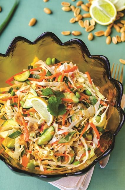 thai crunch salad. easy fast fresh salad included in happy herbivore's light and lean cook book