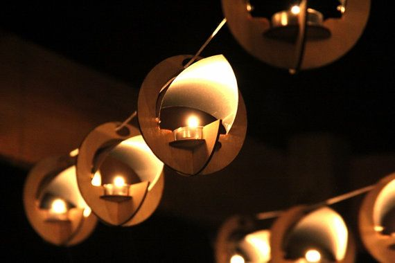 Skyboats 5 Hanging Lantern String Lights. Tealight by 1Man1Garage