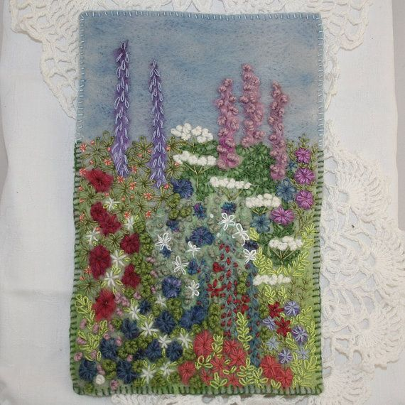 Embroidered and Felted Hanging  Cottage Garden by Lynwoodcrafts